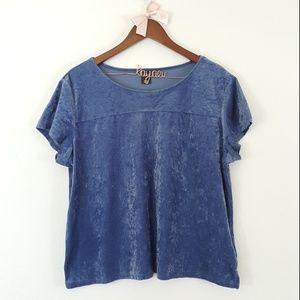 City Streets Blue Velvet Short Sleeve Top XL